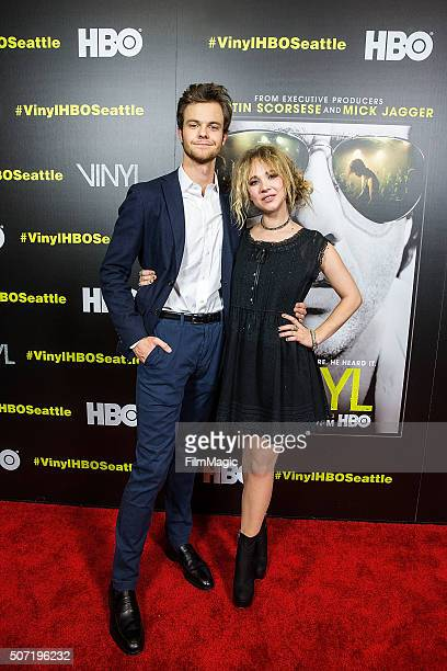 Actor Jack Quaid and actress Juno Temple pose for a photo at the premiere of Vinyl at Cinerama on January 27 2016 in Seattle Washington
