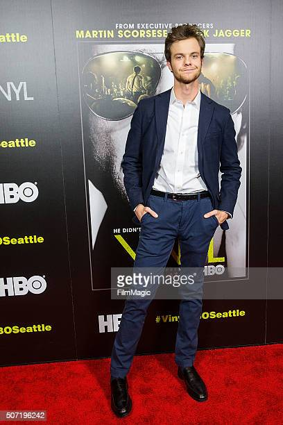 Actor Jack Quaid poses for a photo at the premiere of Vinyl at Cinerama on January 27 2016 in Seattle Washington