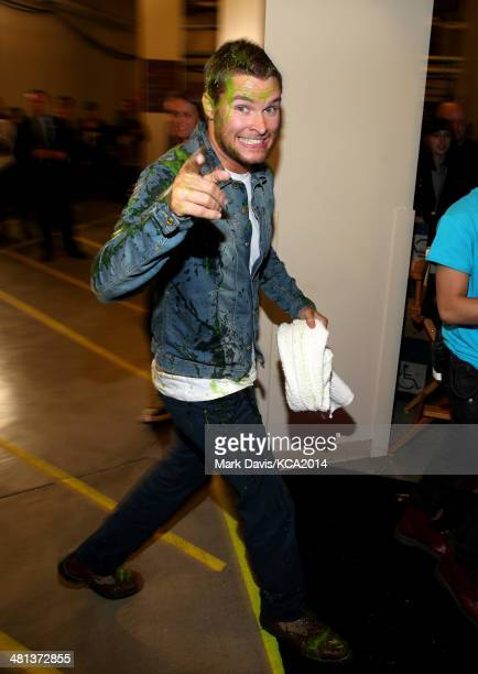 Actor Jack Reynor backstage after getting slimed at Nickelodeon's 27th Annual Kids' Choice Awards held at USC Galen Center on March 29 2014 in Los...