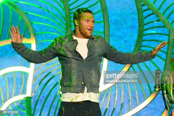 Actor Jack Reynor speaks onstage during Nickelodeon's 27th Annual Kids' Choice Awards held at USC Galen Center on March 29 2014 in Los Angeles...