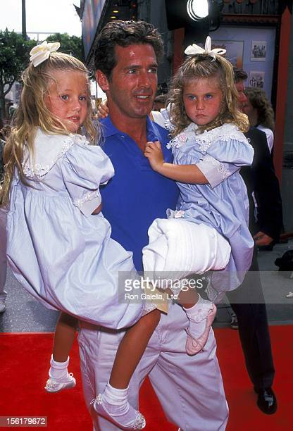 Actor Jack Scalia and daughters Olivia Scalia and Jacqueline Scalia attend the 'Dennis the Menace' Hollywood Premiere on June 19 1993 at Mann's...