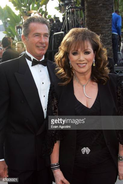Actor Jack Scalia and writer Jackie Collins arrive at the Vanity Fair Oscar Party at Mortons on March 5 2006 in West Hollywood California