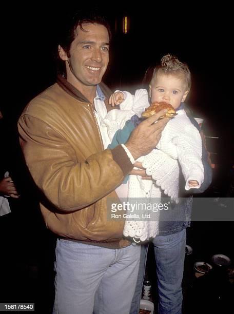 Actor Jack Scalia daughter Jacqueline Scalia attend the 'Teenage Mutant Ninja Turtles' Universal City Premiere on November 21 1990 at Universal...