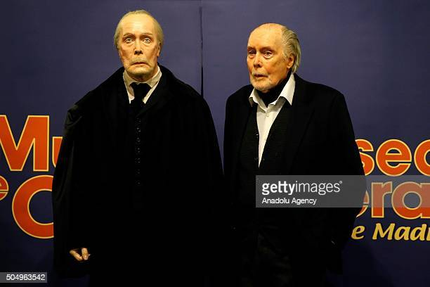 Actor Jack Taylor poses for a photograph with waxwork model created in his likeness at a Wax museum 'Museo de Cera' in Madrid Spain on January 14 2016