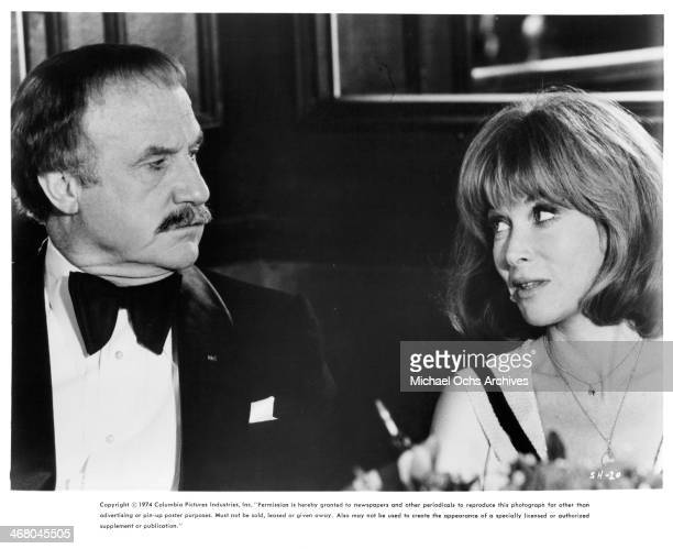 """Actor Jack Warden and actress Lee Grant on set of the movie """"Shampoo"""" , circa 1975."""