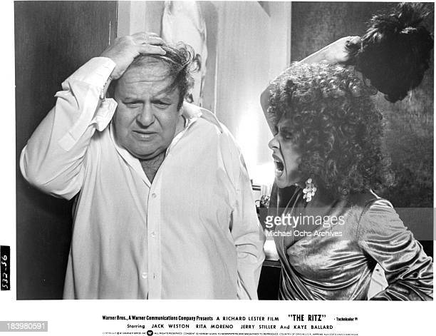 Actor Jack Weston and actress Rita Moreno on set of the Warner Bros movie 'The Ritz' in 1976