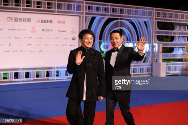 Actor Jackie Chan and actor Chen Daoming attend the closing ceremony of the 28th China Golden Rooster And Hundred Flowers Film Festival on November...