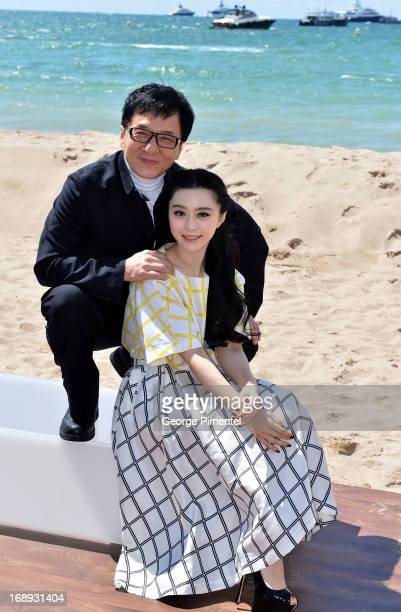 Actor Jackie Chan and actress Fan Bingbing attend the 'Emperor' press junket with Jackie Chan and Fan Bingbing during The 66th Annual Cannes Film...