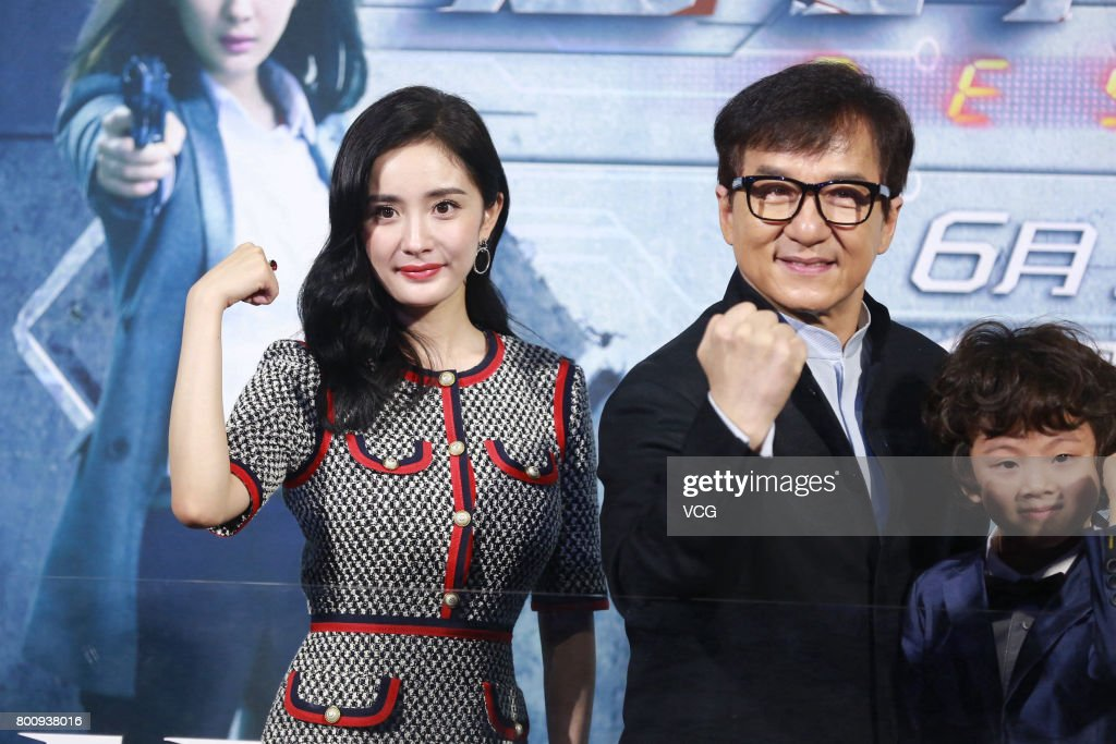Actor Jackie Chan and actress Yang Mi attend the premiere of South Korean director Chang Yoon Hong-seung's film 'Reset' on June 25, 2017 in Beijing, China.