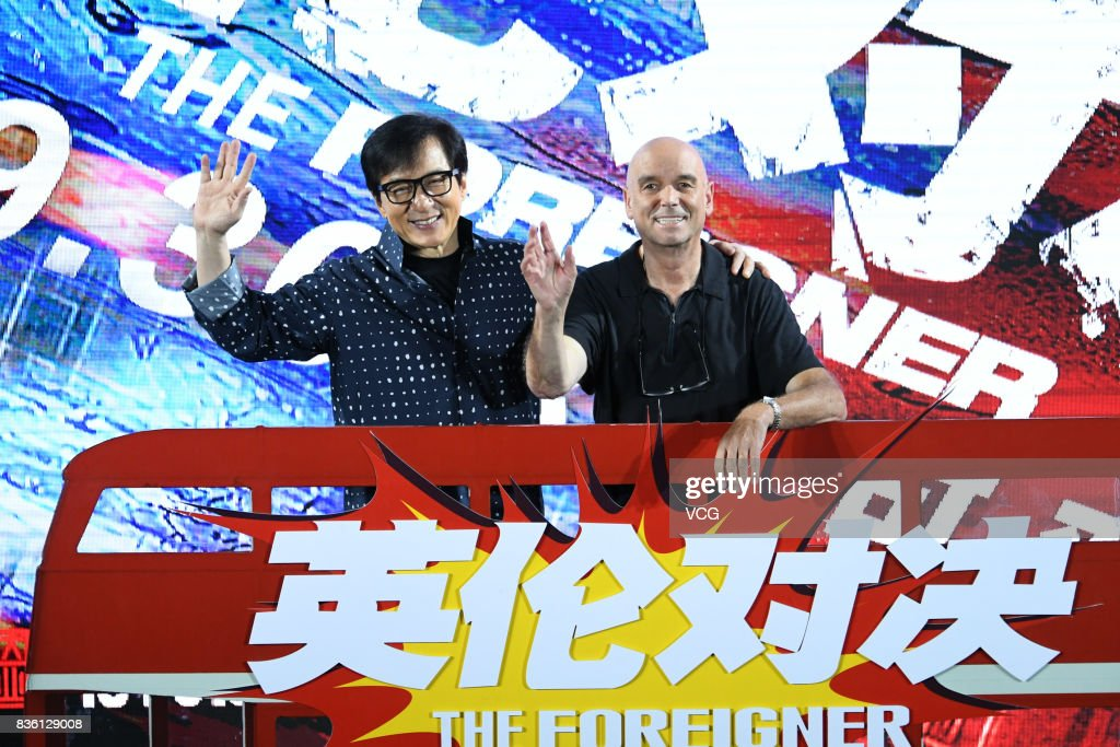 Actor Jackie Chan and director Martin Campbell (R) attend 'The Foreigner' press conference on August 21, 2017 in Beijing, China.