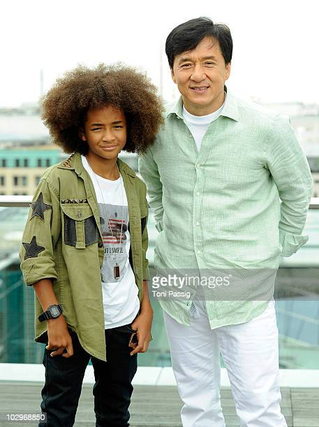 Actor Jackie Chan and Jaden Smith attend the 'Karate Kid' photocall on the rooftop of China Club at hotel Adlon on July 19 2010 in Berlin Germany