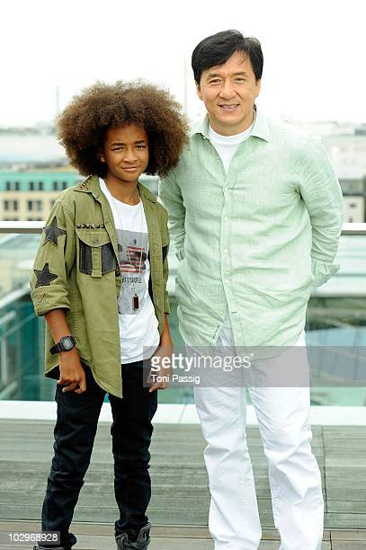 Actor Jackie Chan and Jaden Smith attend the Photocall 'Karate Kid' on rooftop China Club hotel Adlon Berlin on July 19 2010 in Berlin Germany
