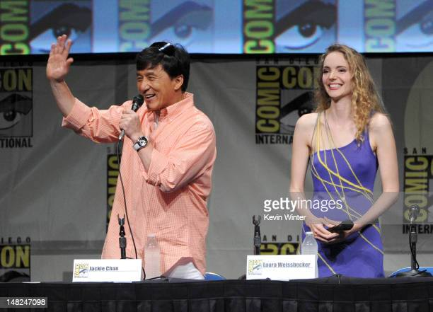 Actor Jackie Chan and Laura Weissbecker speak at CZ12 panel during ComicCon International 2012 at San Diego Convention Center on July 12 2012 in San...