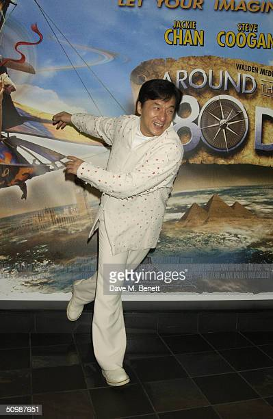 Actor Jackie Chan arrives at the UK Premiere of the classical novel by Jules Verne Around The World In 80 Days on June 22 2004 at Vue West End in...