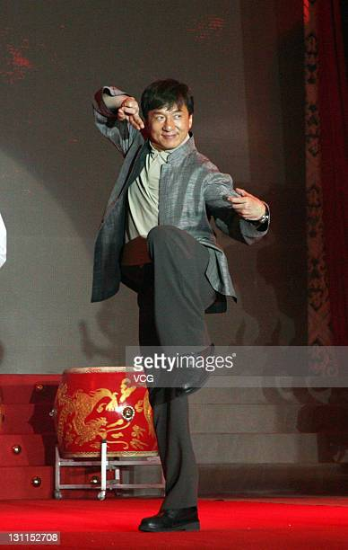 """Actor Jackie Chan attends """"Legendary Amazons"""" Beijing premiere at Pangu 7 Star Hotel on November 1, 2011 in Beijing, China."""