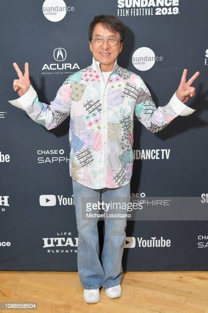 Actor Jackie Chan attends the Cinema Café for a TimesTalk with Kyle Buchanan during the 2019 Sundance Film Festival at Filmmaker Lodge on January 25...