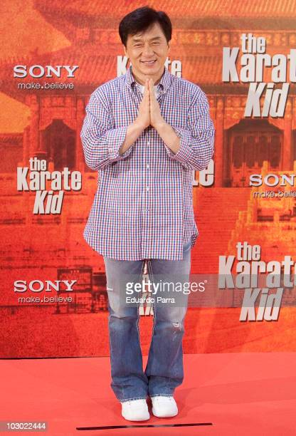 Actor Jackie Chan attends 'The Karate Kid' photocall at Proyecciones cinema on July 21 2010 in Madrid Spainon July 21 2010 in Madrid Spain