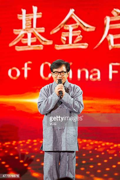 Actor Jackie Chan attends the launching ceremony of China Film international fund during the 18th Shanghai International Film Festival on June 16...