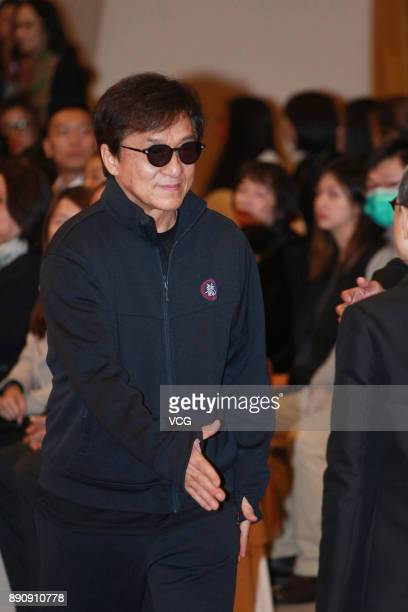 Actor Jackie Chan attends the memorial service for Hong Kong film and television producer Mona Fong on December 12 2017 in Hong Kong China