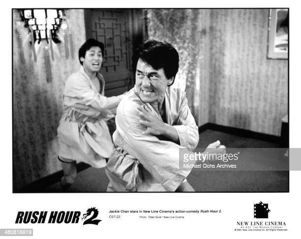 Actor Jackie Chan fights in a scene from the New Line Cinema movie Rush Hour 2 circa 2001