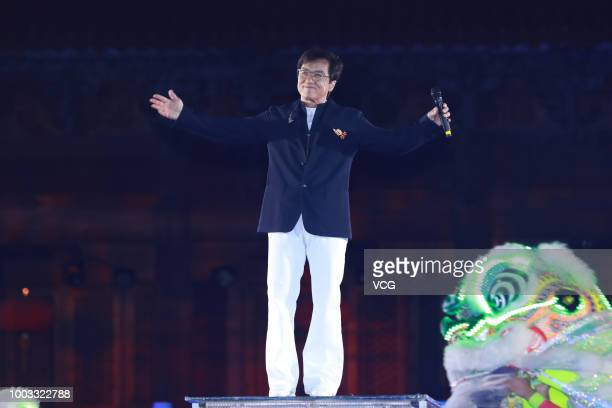 Actor Jackie Chan performs onstage during the opening ceremony of the 4th Annual International Jackie Chan Action Movie Week at Datong Prince's...