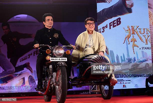 Actor Jackie Chan poses for a photo with Indian actor Sonu Sood during the promotion of his new movie Kung Fu Yoga in Mumbai India on January 23 2017