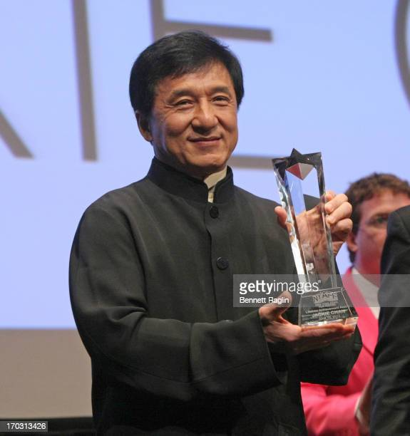 Actor Jackie Chan receives a Lifetime Achievement Awardsduring the 2013 New York Asian Film Festival Star Asia Lifetime Achievement Award Ceremony at...