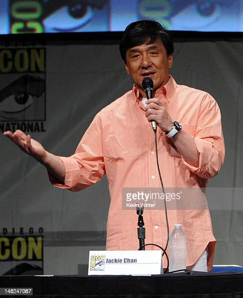 Actor Jackie Chan speaks at CZ12 panel during ComicCon International 2012 at San Diego Convention Center on July 12 2012 in San Diego California
