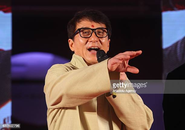 "Actor Jackie Chan speaks during the promotion of his new movie ""Kung Fu Yoga"" in Mumbai, India on January 23, 2017."