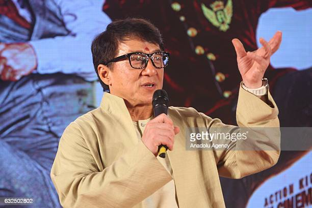 """Actor Jackie Chan speaks during the promotion of his new movie """"Kung Fu Yoga"""" in Mumbai, India on January 23, 2017."""