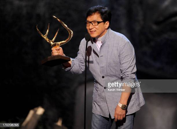 Actor Jackie Chan speaks onstage during Spike TV's Guys Choice 2013 at Sony Pictures Studios on June 8 2013 in Culver City California