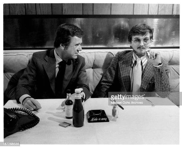 Actor Jackie Cooper and David Hemmings on set of the Columbia Pictures movie ' The Love Machine' in 1971