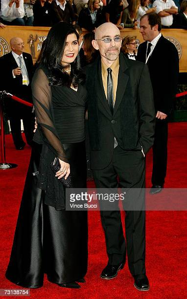 Actor Jackie Earle Haley and wife Amelia Cruz arrive at the 13th Annual Screen Actors Guild Awards held at the Shrine Auditorium on January 28 2007...