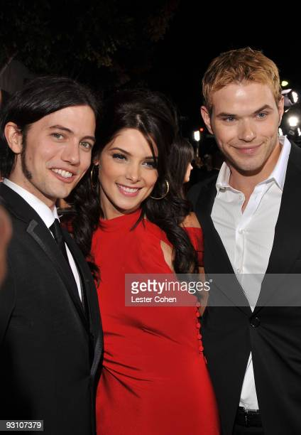 "Actor Jackson Rathbone, actress Ashley Greene and actor Kellan Lutz arrive at the premiere of Summit Entertainment's ""The Twilight Saga: New Moon"" on..."