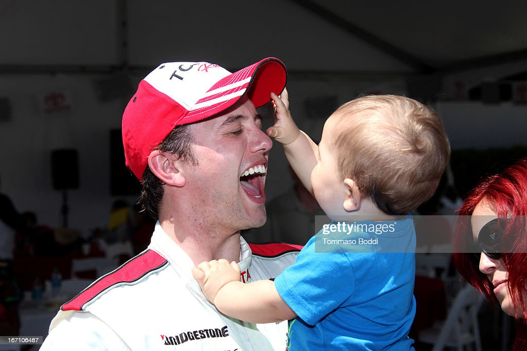 Actor Jackson Rathbone and son Monroe Jackson Rathbone VI attend the 37th Annual Toyota ProCelebrity Race on April 20, 2013 in Long Beach, California.