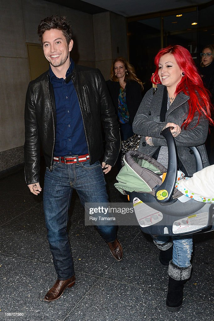 Actor Jackson Rathbone, Jackson Rathbone VI, and Sheila Hafsadi leave the 'Today Show' taping at the NBC Rockefeller Center Studios on November 19, 2012 in New York City.