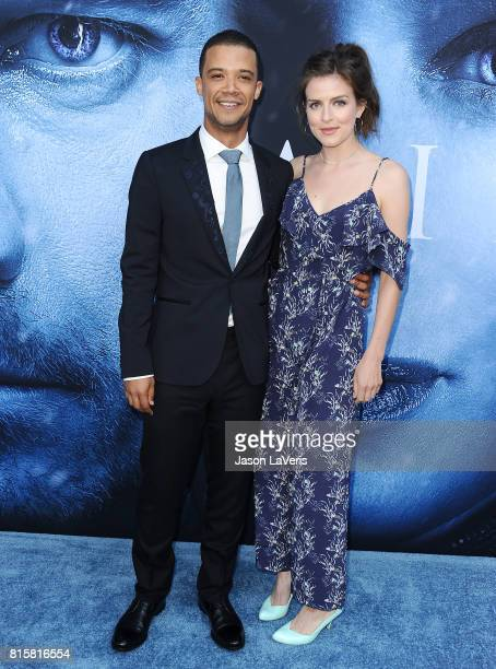 Actor Jacob Anderson and guest attend the season 7 premiere of 'Game Of Thrones' at Walt Disney Concert Hall on July 12 2017 in Los Angeles California
