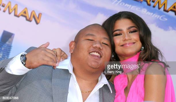 Actor Jacob Batalon and actress/singer Zendaya attend the World Premiere of Columbia Pictures' 'SpiderMan Homecoming' at TCL Chinese Theatre on June...