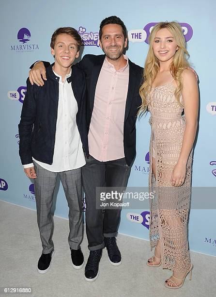 """Actor Jacob Bertrand, director Jay Karas and actress Peyton List arrive at the Los Angeles Premiere of Disney Channel's """"The Swap"""" at ArcLight..."""