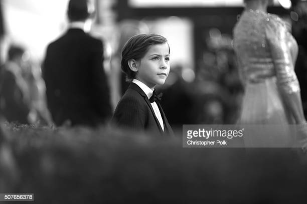 Image has been converted to black and white Actor Jacob Tremblay attends The 22nd Annual Screen Actors Guild Awards at The Shrine Auditorium on...