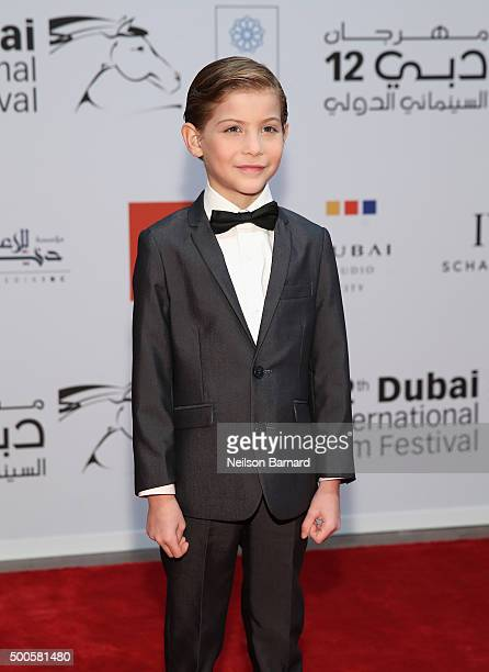 Actor Jacob Tremblay attends the Opening Night Gala of Room during day one of the 12th annual Dubai International Film Festival held at the Madinat...