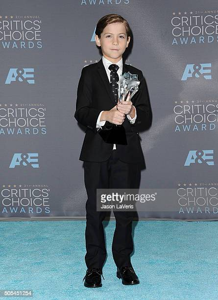 Actor Jacob Tremblay poses in the press room at the 21st annual Critics' Choice Awards at Barker Hangar on January 17 2016 in Santa Monica California