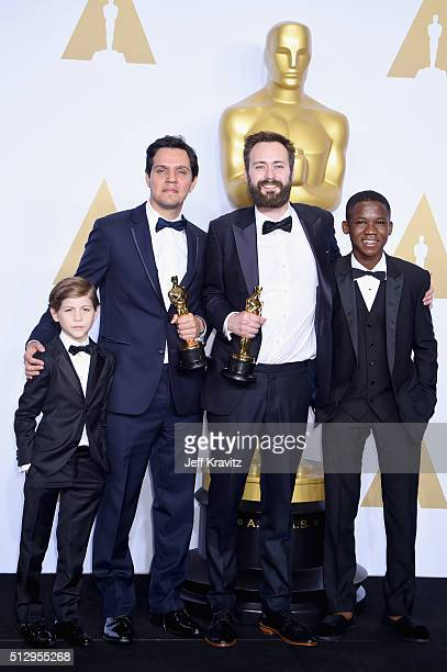 Actor Jacob Tremblay, Shan Christopher Ogilvie and Benjamin Cleary, winners of Best Live Action Short Film for 'Stutterer,' and actor Abraham Attah...