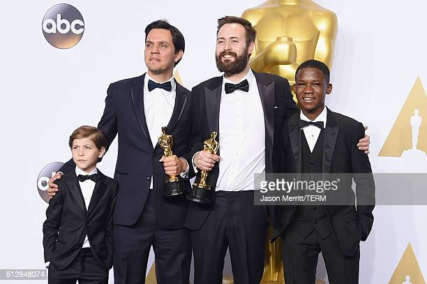 Actor Jacob Tremblay Shan Christopher Ogilvie Benjamin Cleary winners of Best Live Action Short Film for 'Stutterer' and actor Abraham Attah pose in...