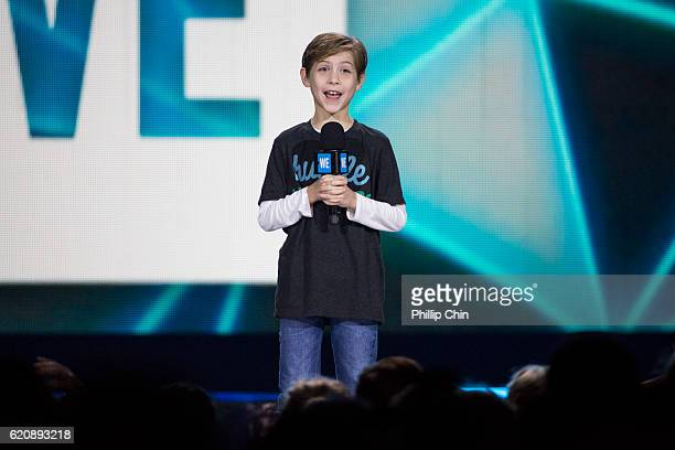 Actor Jacob Tremblay speaks at We Day Vancouver at Rogers Arena on November 3, 2016 in Vancouver, Canada.