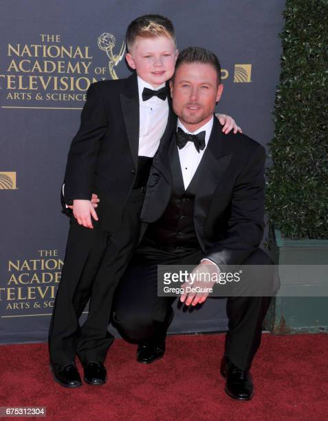 Actor Jacob Young and son Luke Wayne Young arrive at the 44th Annual Daytime Emmy Awards at Pasadena Civic Auditorium on April 30 2017 in Pasadena...
