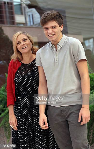 Actor Jacopo Olmo Antinori and mother Francesca De Martini attend 'Io e Te' photocall at Visconti Palace Hotel on October 18 2012 in Rome Italy