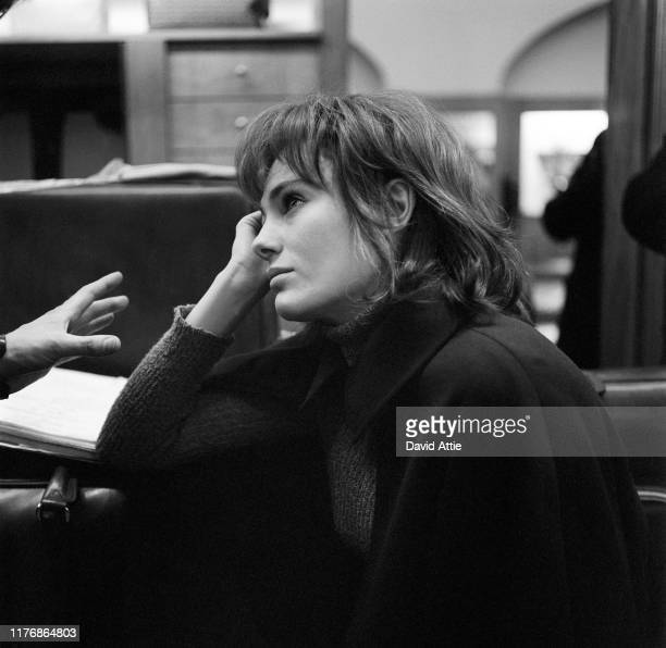 Actor Jacqueline Bisset talks to director Stuart Hagmann on the set of the Israel Horovitz movie Believe In Me in 1970 in New York City New York