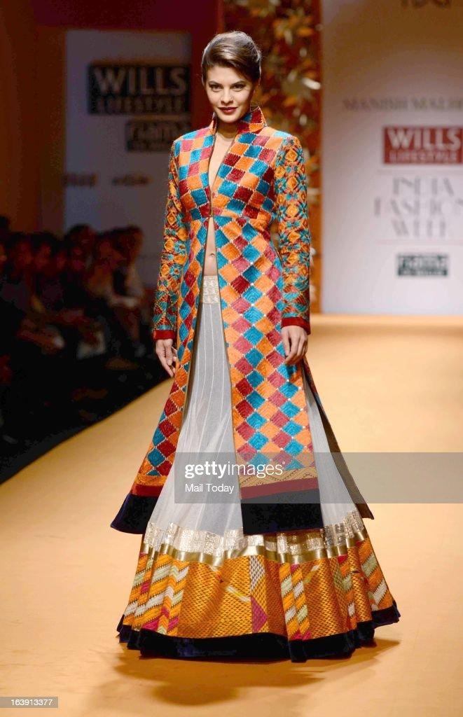 Actor Jacqueline Fernandez walks the ramp for designer Manish Malhotra during the Wills Lifestyle Fashion Week in New Delhi on Friday