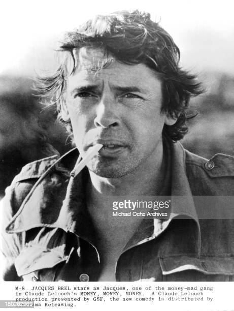 Actor Jacques Brel on set of Cinerama Releasing movie ' Money Money Money'